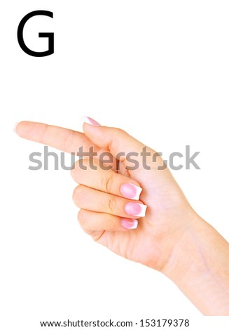 Finger Spelling the Alphabet in American Sign Language (ASL). Letter G - stock photo