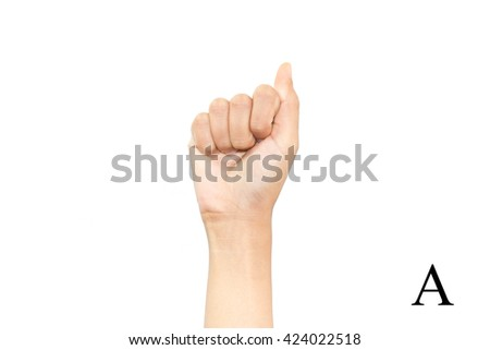Finger Spelling the Alphabet in American Sign Language (ASL). The Letter A - stock photo