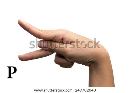 Finger Spelling the Alphabet in American Sign Language (ASL). The Letter P - stock photo