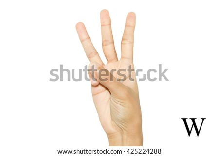 Finger Spelling the Alphabet in American Sign Language (ASL). The Letter W - stock photo