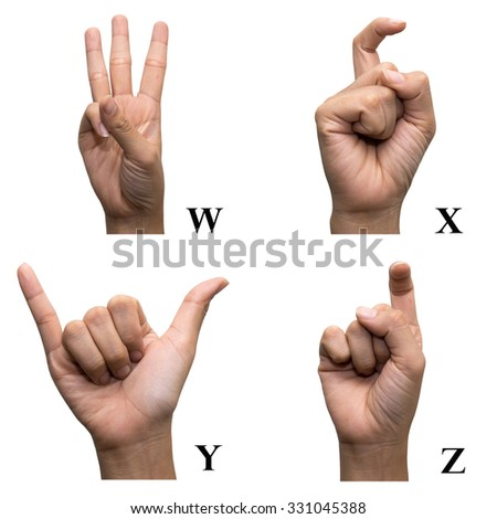 Finger Spelling the Alphabet in American Sign Language (ASL). The Letter W, X, Y and Z. - stock photo