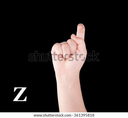 Finger Spelling the Alphabet in American Sign Language (ASL). The Letter Z - stock photo