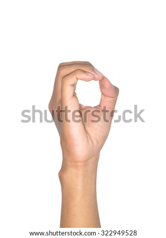Finger Spelling the Alphabet in American Sign Language. The Letter O - stock photo