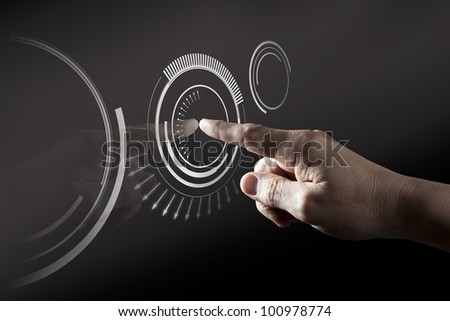 Finger Touching  Black Digital Touch Screen - stock photo