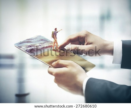 finger touching digital tablet, holiday concept - stock photo