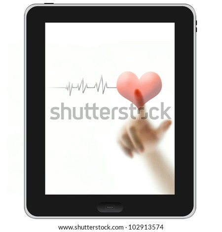 Finger touching red heart and pulse on blank white screen tablet PC - stock photo