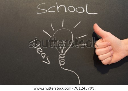 Finger up on blackboard with light bulb and school