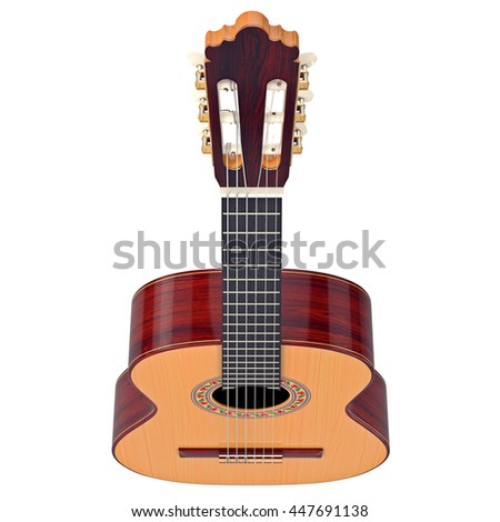Fingerboard classical guitar with tuning-pegs, top view. 3D graphic - stock photo