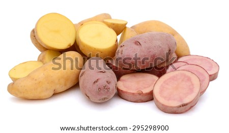 fingerling potatoes on white background  - stock photo