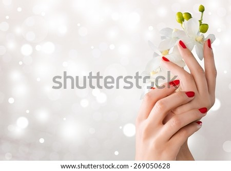 Fingernail. Beautiful woman's hands holding orchid flower - stock photo
