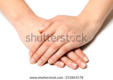 Fingernail woman hand with france manicure - stock photo