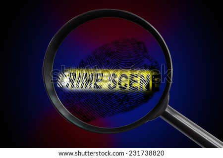 Fingerprint and crime scene tape and magnifying glass - stock photo