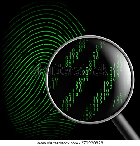 fingerprint and magnifying glass - stock photo