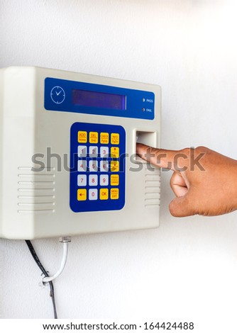 fingerprint and password lock in working time - stock photo