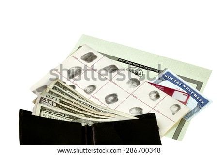 Fingerprint card, driver's license, social security card and birth certificate isolated on white with wallet and paper money - stock photo