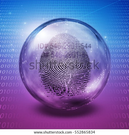 Fingerprint contained in glass sphere with Id Number  3D Render