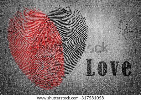 Fingerprint heart - stock photo