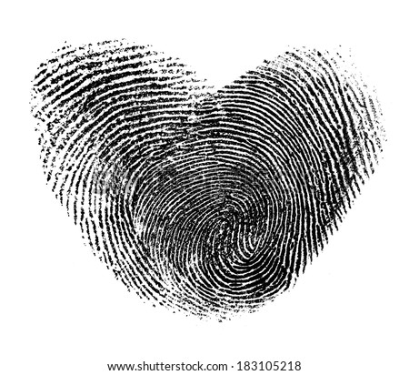 fingerprint heart isolated on white - stock photo