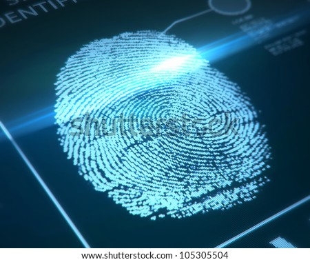 fingerprint identification on a blue background - stock photo