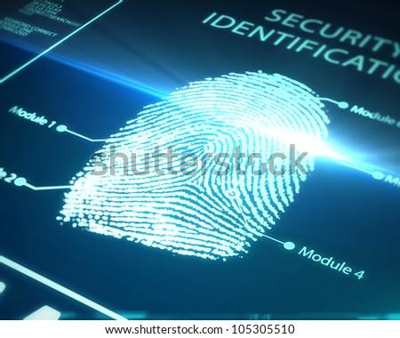 fingerprint identification on a blue background - stock photo