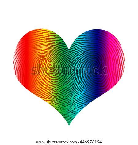 Fingerprint in heart shape 3D Render - stock photo