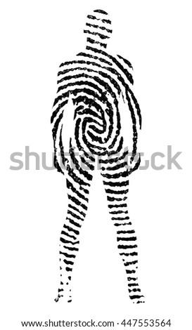 Fingerprint in the shape of man silhouette 3D Render - stock photo
