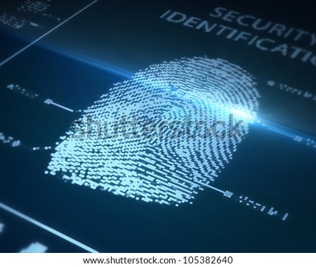 Fingerprint is being scanned - stock photo