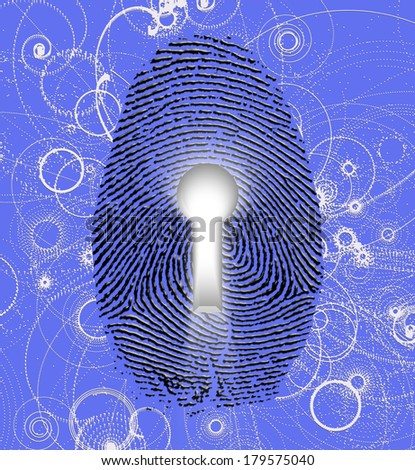 Fingerprint lock and atomic particles - stock photo