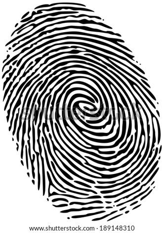 Fingerprint of a thumb, solid black ink on white - stock photo