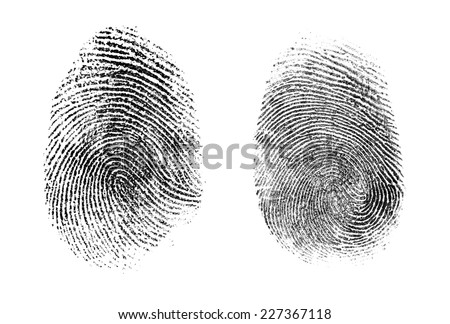 fingerprint or thumbprint set isolated on white - stock photo