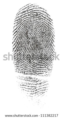 Fingerprint photographed on white background. Made with the right ink used by police to take fingerprints.