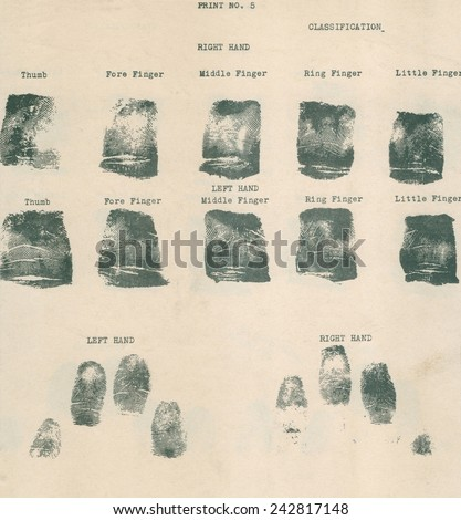 Fingerprint record sheet. - stock photo