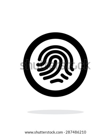 Fingerprint scanner icon on white background. - stock photo