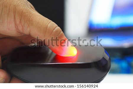 Fingerprint scanning technology - stock photo