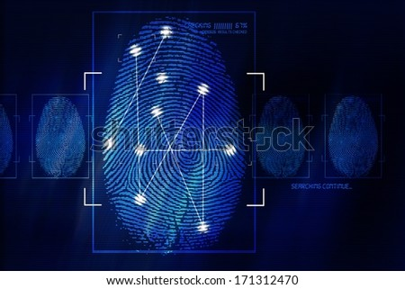 Fingerprint Scanning Technology Concept Illustration. Fingerprint Searching Software. Identity Check. - stock photo