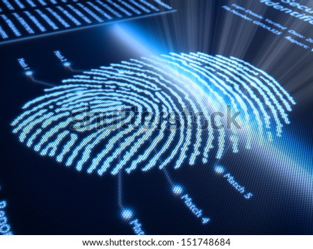 Fingerprint scanning technology on pixellated screen - 3d rendered with slight DOF - stock photo
