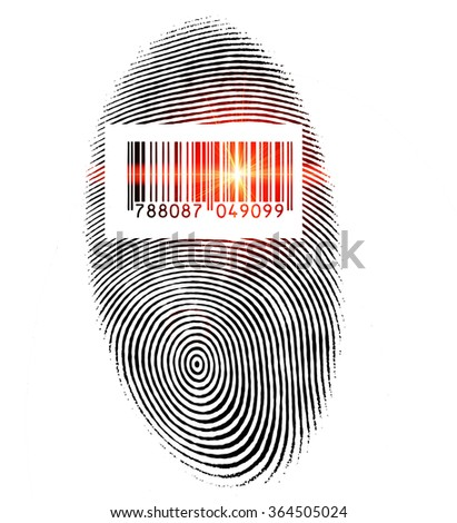 Fingerprint with barcode and red laser ray - stock photo