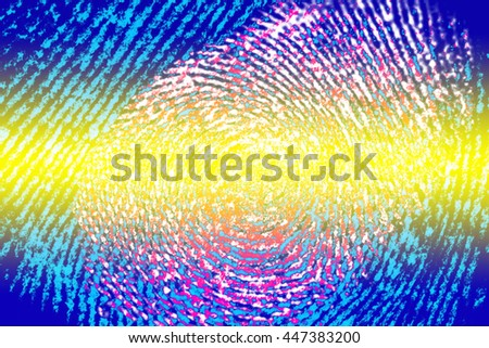 fingerprint with color filters - stock photo
