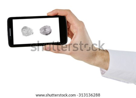 Fingerprints on screen of smartphone. Mobile security concept - stock photo