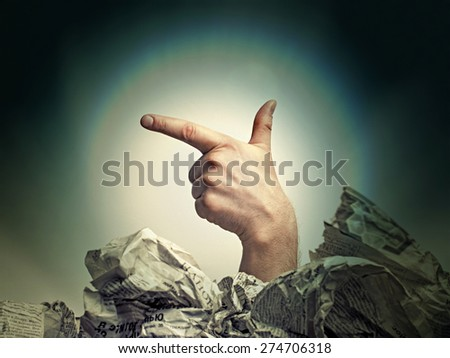 Fingers of the hand depicting a gun - stock photo
