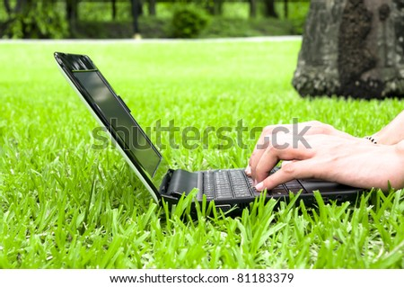 fingers on the laptop keyboard in the field - stock photo