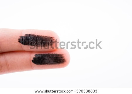 Fingers painted on a white background