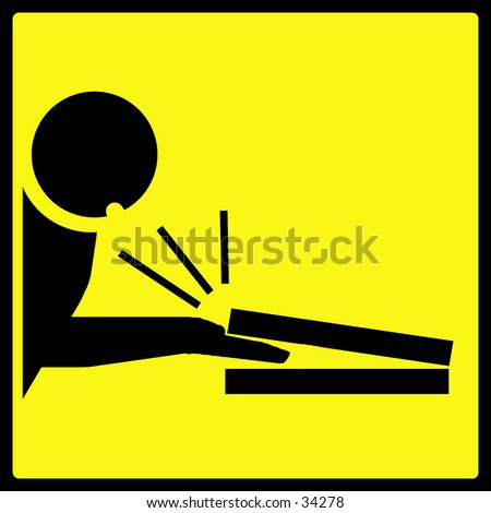 Fingers pinched in laptop computer warning sign - stock photo