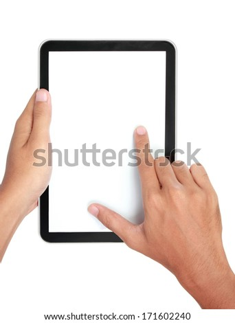 Fingers pinching to zoom tablet's screen. isolated over white background