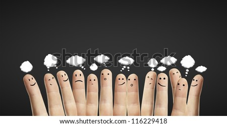 fingers smileys with speech bubbles - stock photo