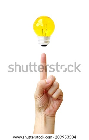 fingertip hand point bulb light isolate on over white background - stock photo