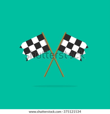 Finish flag icon, two racing finishing flags pictogram in linear outline emblem, symbol of sport competition completion, winning flat simple black and white style design isolated image