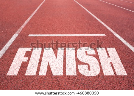Finish line on asphalt. Business background