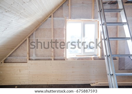 Finishing Made Of Tongue And Groove Planks. An Interior View Of Unfinished  Home Inside.