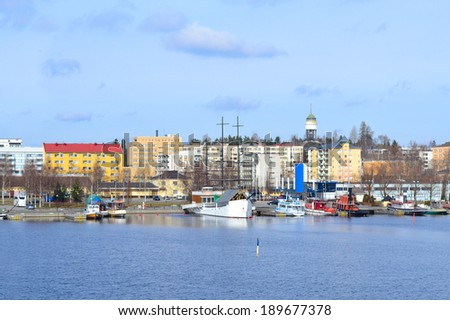 Finland. Beautiful harbor in the town of Mikkeli in a sunny spring day